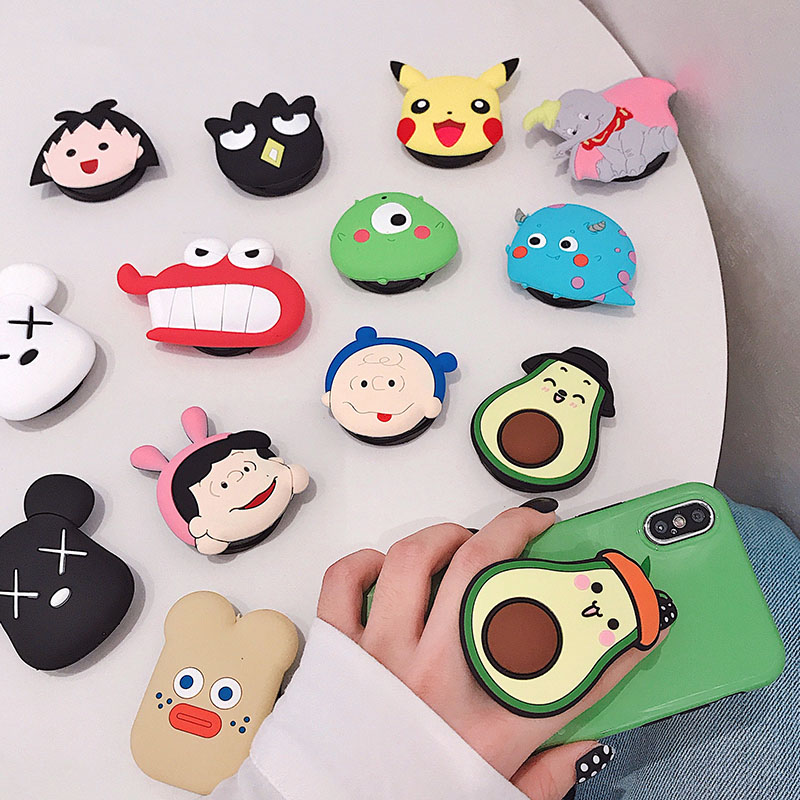 Kingqiu Universal Phone Stand Bracket Expanding Stand Stretch Grip Phone Holder Finger Cute Cartoon Stand For Iphone 8 X