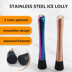 Crushed Ice Stick Hand Stick Blender Rhombic Hammer Stirrers Cocktail Set Pub Household Tool Stainless Steel Lemon Mint