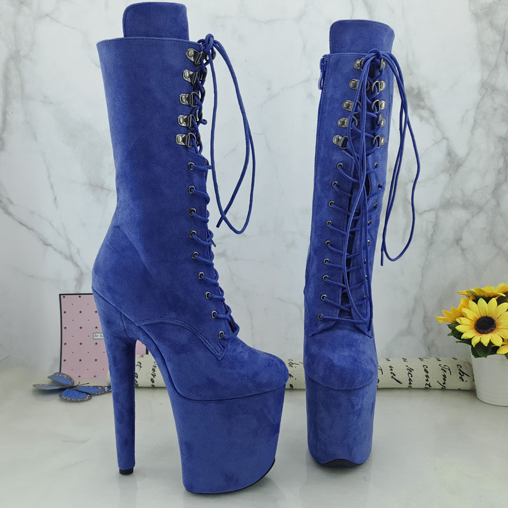 Leecabe Blue Suede 20CM Pole Dancing Shoes High Heel Platform Pole Dance Boot