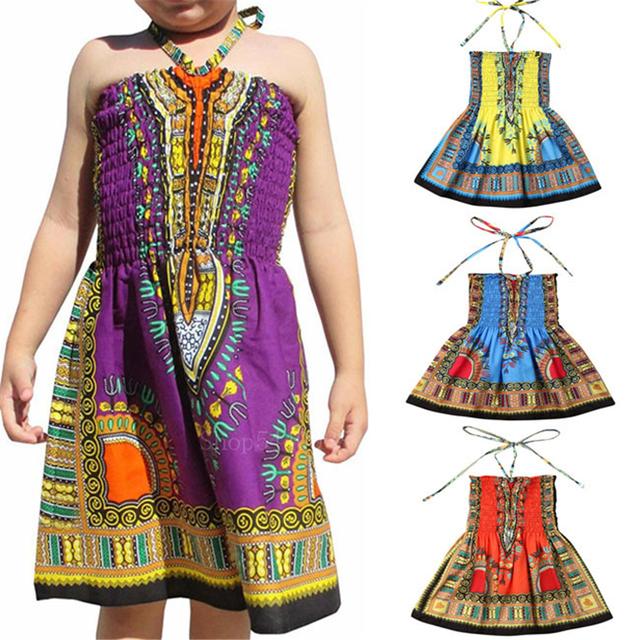2020 afrykańska tkanina bazinowa Dashiki sukienka dziecięca etniczna tradycyjna drukowana Riche Camisole letnia elastyczna odzież z nadrukiem Vestido tanie i dobre opinie Poliester Dziewczyny Kids dashiki dress Only one dress
