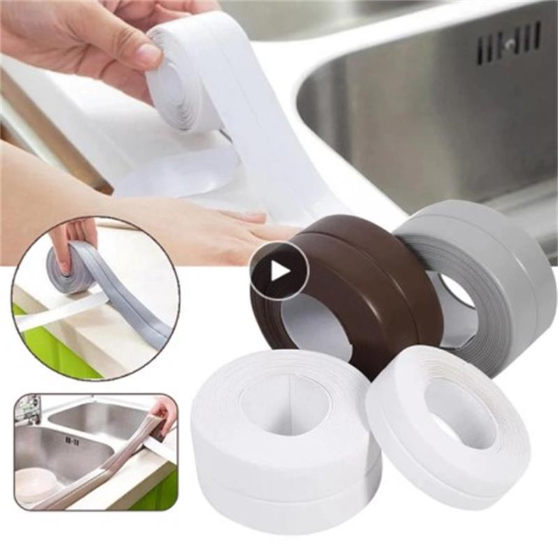 Настенная герметизирующая лента для кухни и ванной, водонепроницаемая рулонная клейкая лента из ПВХ, устойчивая к плесени, самоклеящаяся л...