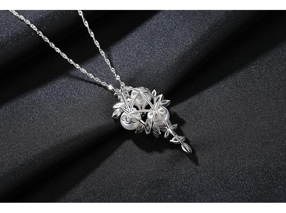 S925 collier en argent sterling pendentif perle d'eau douce clavicule accessoires JSG07 - 3