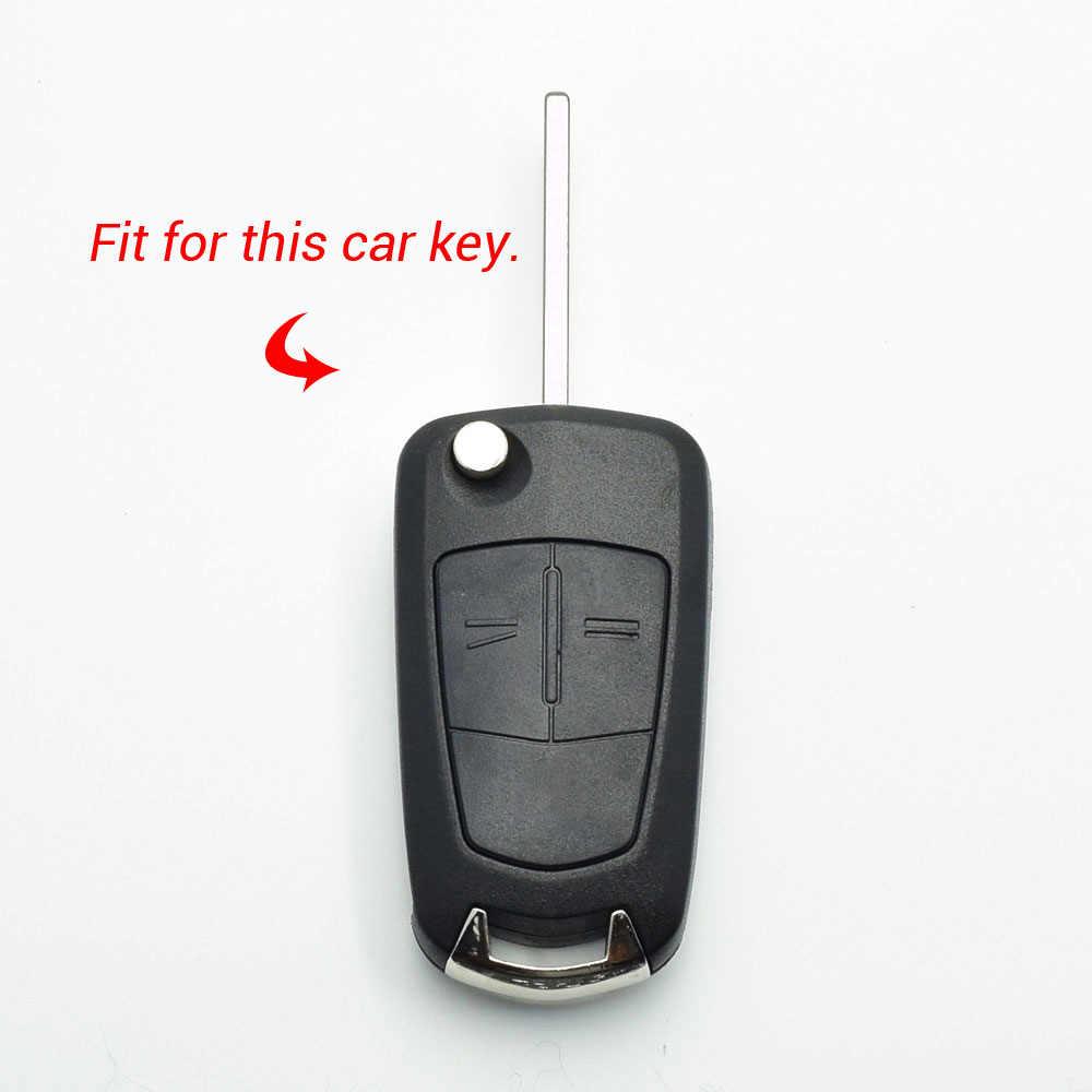 Funda de silicona con tapa para llave de coche para Vauxhall Opel Corsa Astra Vectra Signum, 2 botones, llavero plegable, cubierta de protección de mando a distancia
