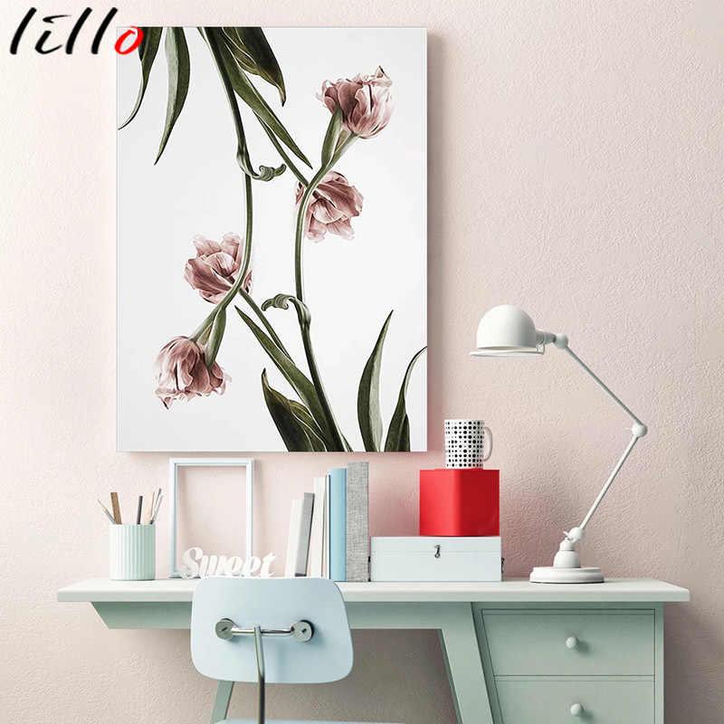 Скандинавский Романтический постер с цветами, Картина на холсте, настенные художественные картины для гостиной, hd плакаты и принты, розовый, зеленый, домашний декор