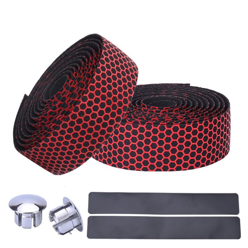 Cycling Road Bike Sports Bicycle Cork Handlebar Tape + 2 Bar Plug Carbon Fiber Belt Strap -Red