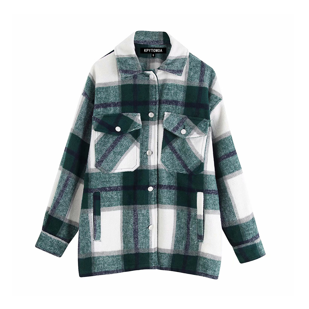 H31eb166cd05b410db29074c00e6ba8adz Vintage Stylish Pockets Oversized Plaid Jacket Coat Women 2019 Fashion Lapel Collar Long Sleeve Loose Outerwear Chic Tops