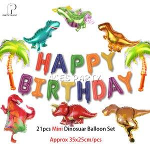 Image 3 - Meninos crianças 2019 novo tema dino toalha de mesa capa festa aniversário utensílios de mesa balão caixa de doces placa de bandeira copo suprimentos