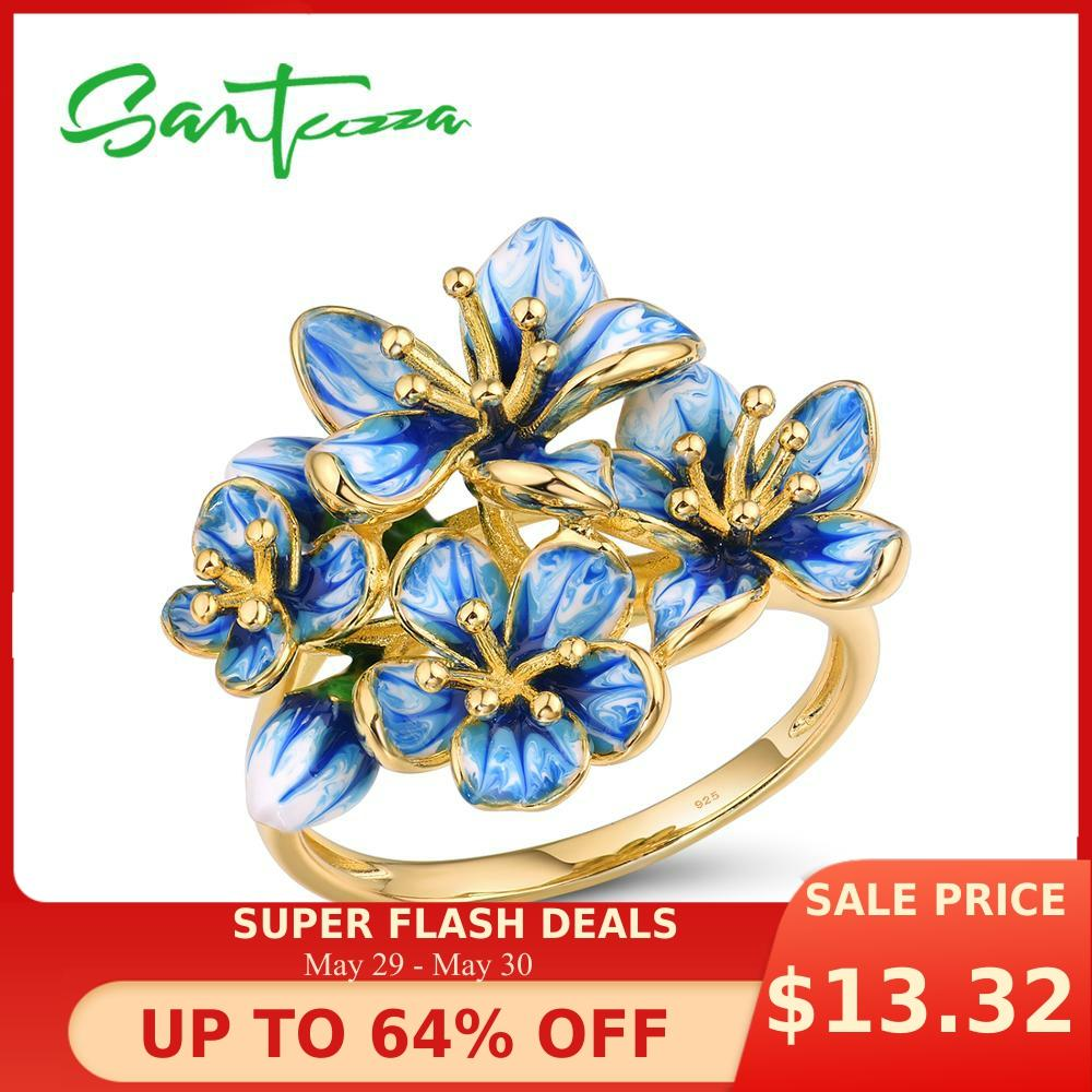 SANTUZZA Silver Rings For Women Genuine 925 Sterling Silver Gold Color Exquisite Flowers Trendy Fine Jewelry Handmade Enamel