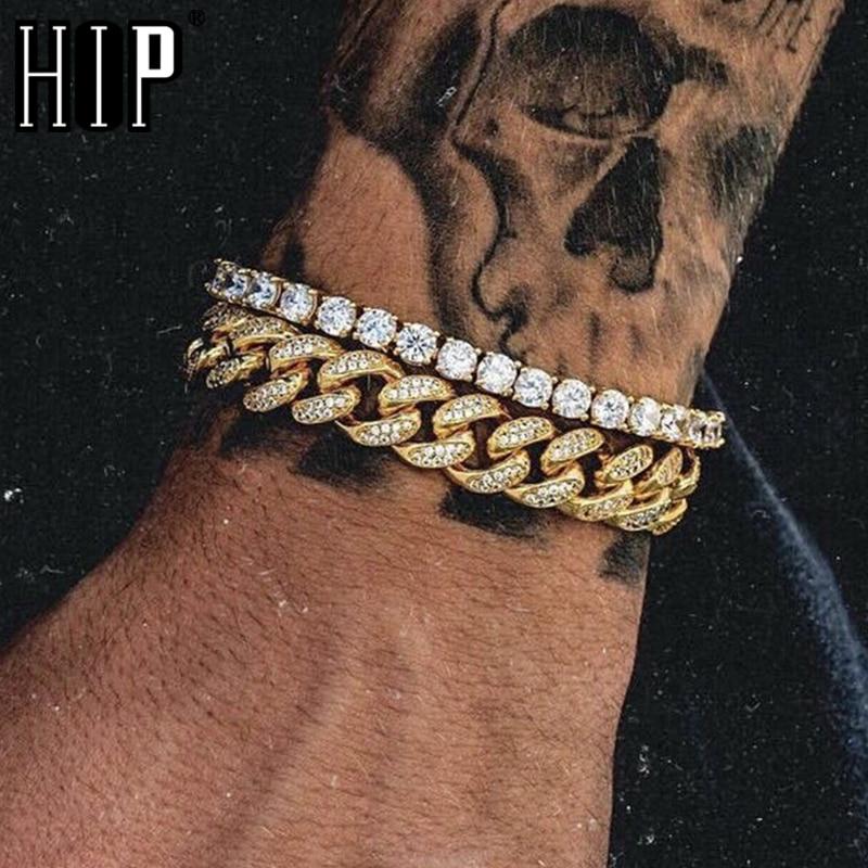 Hip Hop 1Set Full Rhinestone Bling Iced Out Men's Bracelet Pave Gold Miami Cuban Link Chain Bracelets for Men Jewelry Dropship