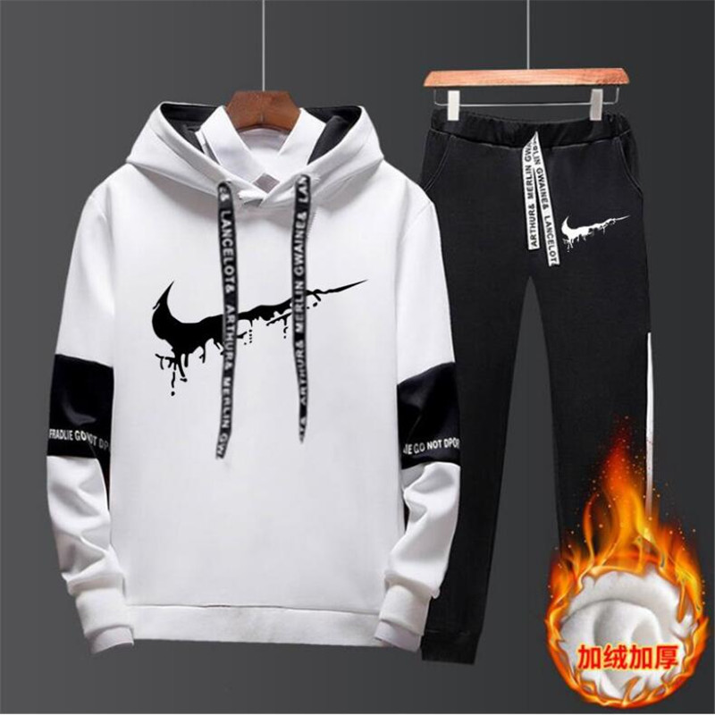 NEW Brand Clothing Men's Casual Sweatshirts Pullover Cotton Men Tracksuit Hoodies Two Piece+Pants Sport Shirts Autumn Winter Set