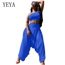 YEYA Sexy Wrapped Chest Harem Jumpsuits 2 Pieces Sets Off Shoulder Sleeveless Women Playsuits Rompers Elegant Club Overalls