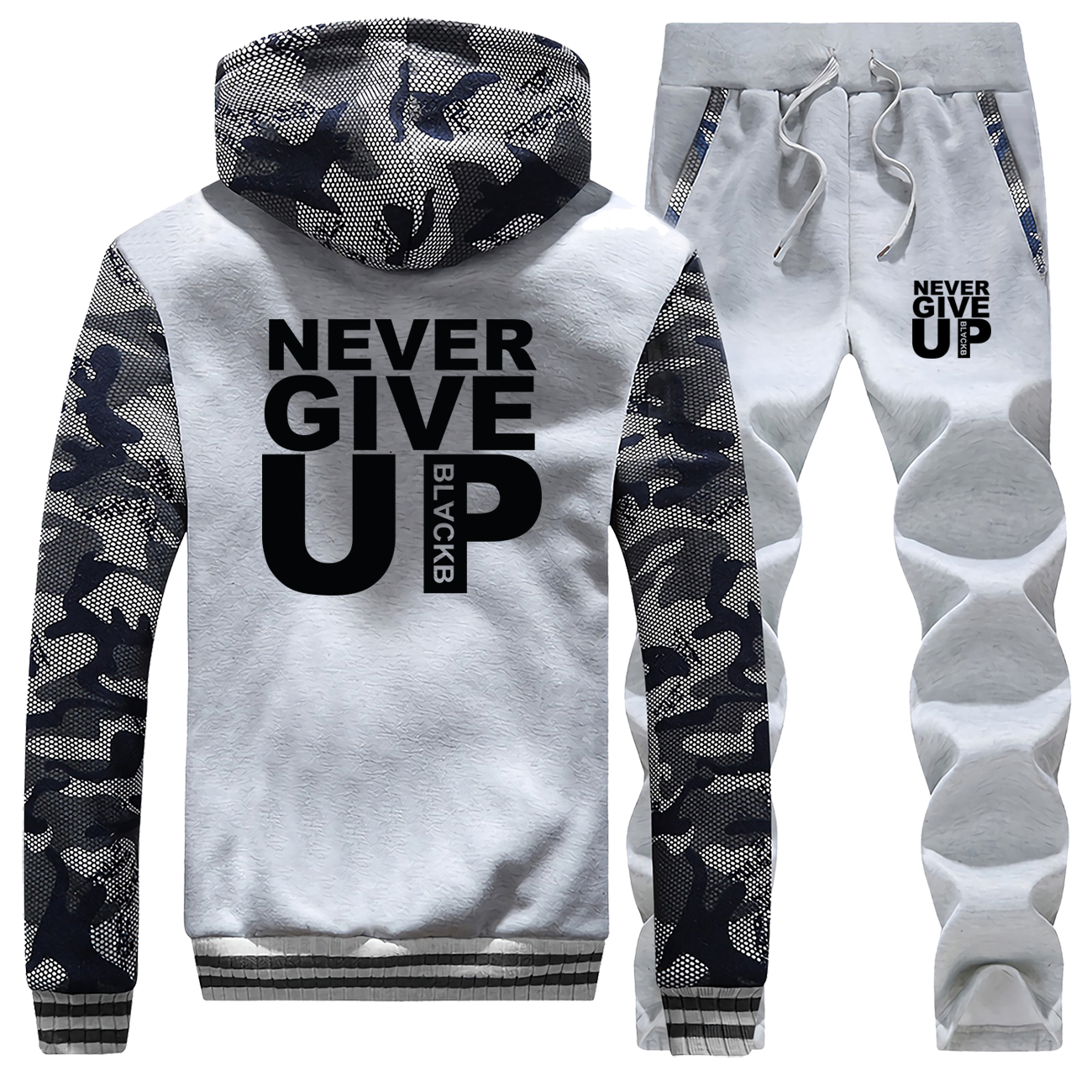 Men's Hoodies Never Give Up Letter Print Jaket+Pants 2 Piece Sets Men Sweatshirt Warm Suit Camouflage Tracksuit Set Mens Coat