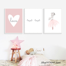 Pop Cute Kids Poster Cartoon Canvas Painting Love Wall Art Pink Girl Nordic Decoration  For Baby Room Decor Unframed