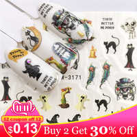 WUF  1 Sheet Halloween Nail Art Sticker Skull Bone Water Transfer Decals Nails Foil Manicure Decoration