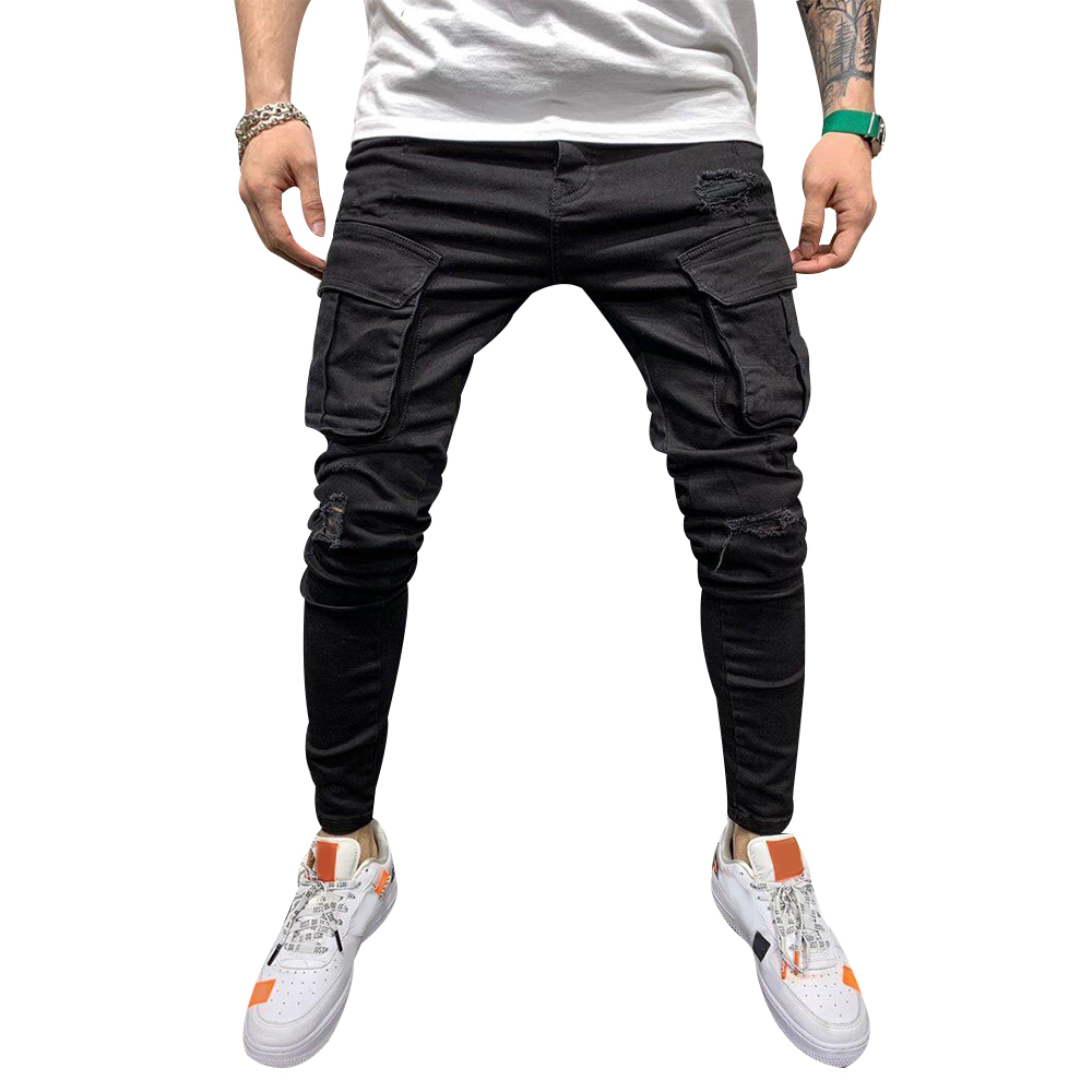 2020 2020 New Jeans Pants Mens Fashion Casual Skinny Slim Jeans Classic Pockets Trousers Denim Cargo Pants Male Black Men D30 From Glenan 30 14 Dhgate Com