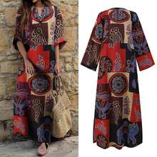 Women'Long Sleeve Dress V Neck Dress Casual Cotton Bohemian Printed Sundress VONDA 2021 Spring Holiday Vestido Plus Size Robe
