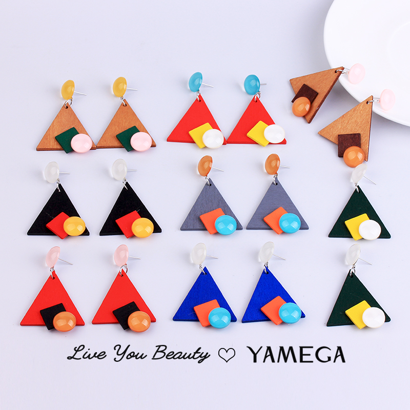 Fasion Korean Unique Contrast color Resin Earrings Red Social Statement Drop Triangle Wooden Earring for Women Party Jewelry New