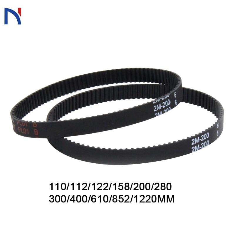GT2 Belt Closed Loop Timing Belt 2GT 6mm Rubber 3D Printer Parts 110 112 122 158 200 280 300 400 610 852mm Synchronous Belts