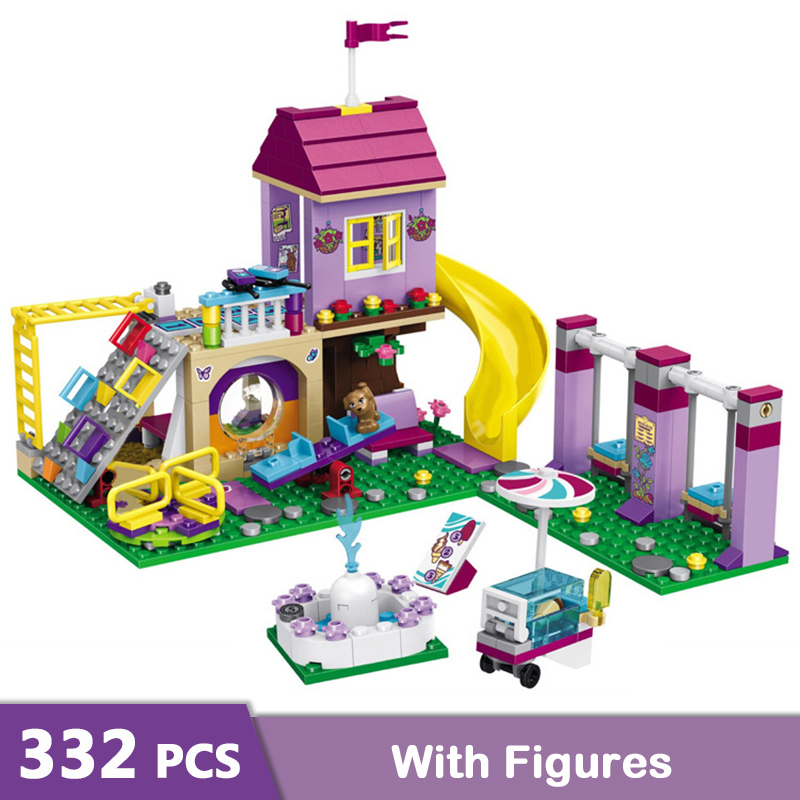 332PCS Girls Friends Heartlake Amusement Park Building Blocks Compatible Legoinglys Stacking Bricks Figures Toys For Girls