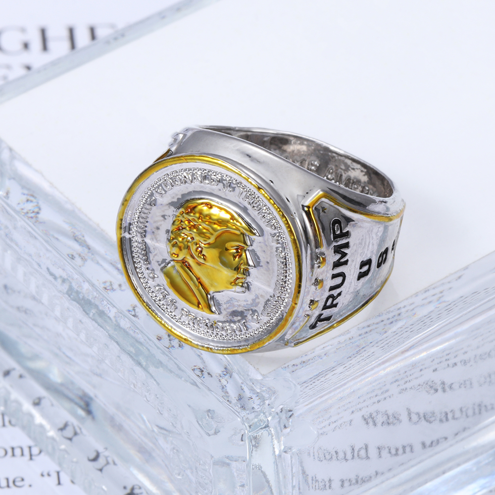 Модные кольца с изображением Трампа для женщин и мужчин, кольцо с изображением президента США, кольцо золотого цвета в байкерском стиле, кол...