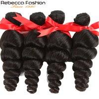Rebecca Fashion Hair Brazilian Hair Weave Loose Wave Bundles Natural Black 4pcs/Lot 100% Human Hair Bundles Remy Hair Extensions
