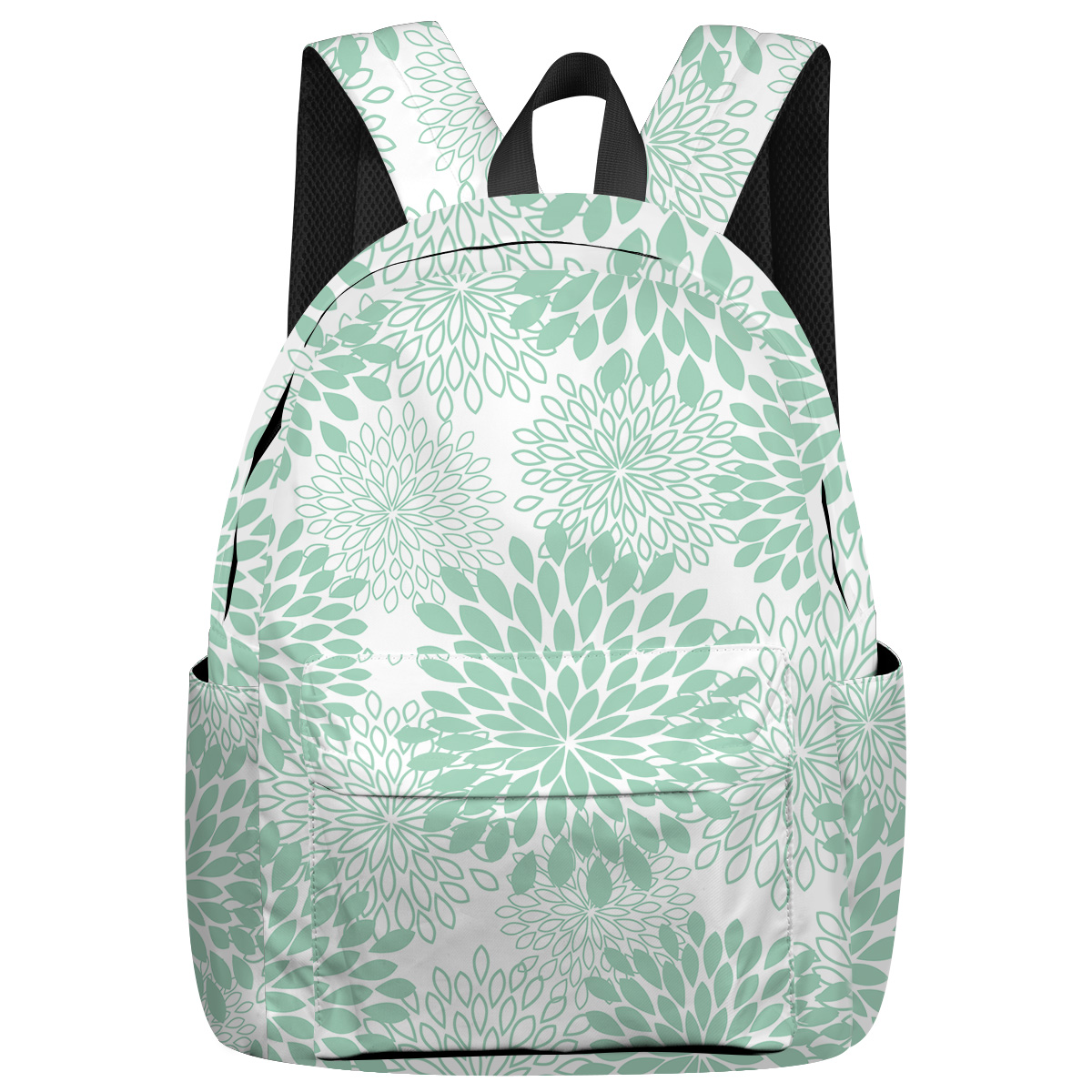 Japanese Abstract Flower Tactical Backpacks Shoes Compartment Outdoor Backpack Laptop Backpack Child Book Bag Multi-Function
