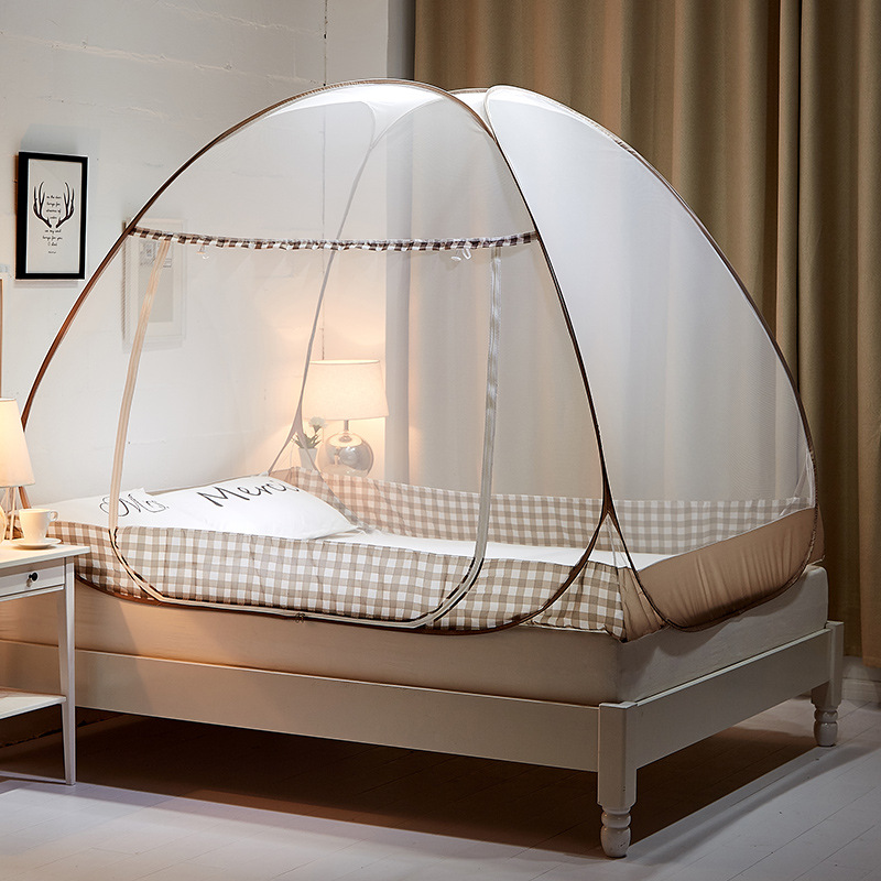 Mosquito net installation free large space zipper single open door anti mosquito net portable folding yurt