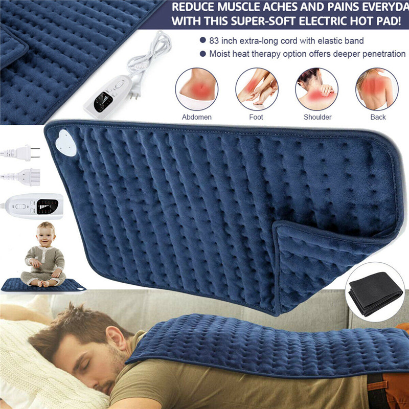 Electric Heating Pad King Size XL Fast Neck Shoulder Abdomen Waist Back Pain Relief Therapy Winter Warmer 6 Heat Controller