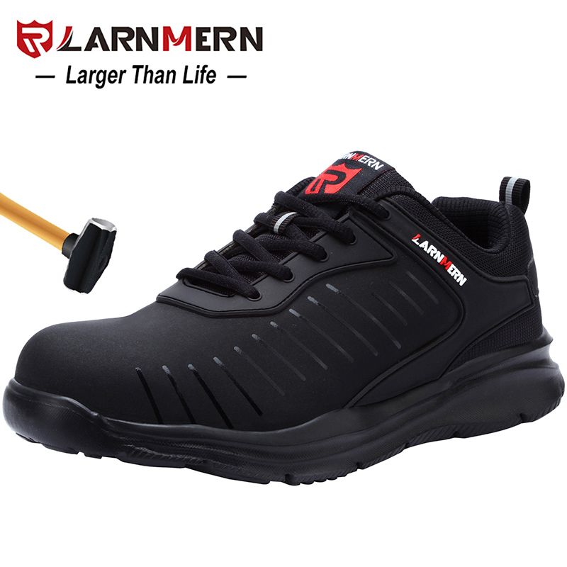 LARNMERN Mens Steel Toe Safety Work Shoes For Men Lightweight Breathable Anti-Smashing Non-Slip Anti-static Protective Shoes