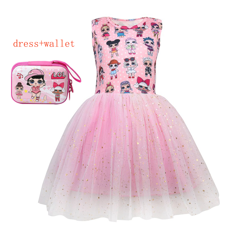 Summer Toddler Girls Lol Dress Cartoon Cute Kids Party Mesh Dresses For Kids Girl Sleeveless Princess Dress Elegant Doll Clothes