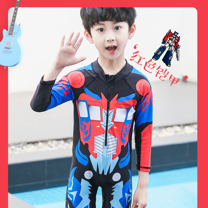 KID'S Swimwear Sun-resistant Quick-Dry One-piece Swimwear Hooded BOY'S Young STUDENT'S Big Boy Hot Springs Bathing Suit