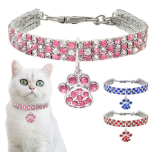 Rhinestone Cute Paw Dog Collar Products for Dogs 20/25/33CM Blue/Red/Pink Adjustable Perro For Small Medium Cat D40