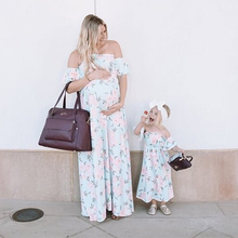 Europe and the United States summer seaside holiday dress chiffon word shoulder flower long skirt mother and my dress girl dress 2019 explosion models europe and the united states sling v neck long dress print chiffon backless beach high quality