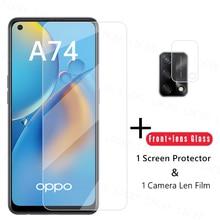 2.5D Clear Glas Voor Oppo A74 Screen Protector Voor Oppo A74 Gehard Glas Beschermende Phone Film Voor Oppo A74 Camera len Film