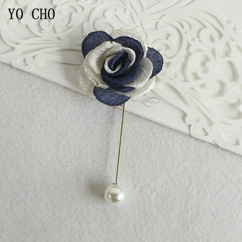YO CHO 2pcs Fabric Roses Brooch Wedding Corsage Pins Groom Boutonniere Buttonhole Wedding Witness Corsage Marriage Accessories