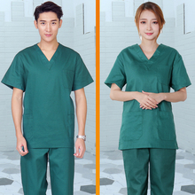 Women Men Medical Clothing Unisex Scrubs Set V-neck Short Sleeve Top + Pants with Elastic Waistline Pure Cotton Workwear