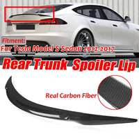 High Quality Real Carbon Fiber Car Rear Trunk Boot Lip Spoiler Wing Big Lip For Tesla Model S Sedan 2012 2019 Wing Spoiler