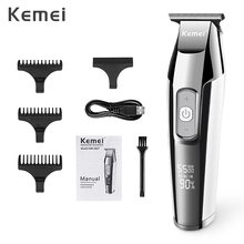 Kemei נטענת שיער קליפר לגברים מקצועי חשמלי שיער גוזם תער LCD תצוגת שיער מכונת חיתוך שיער קאטר