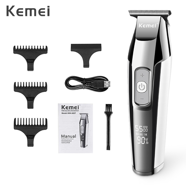 Kemei Rechargeable Hair Clipper for Men Professional  Electric Hair Trimmer Razor LCD Display Hair Cutting Machine Hair Cutter