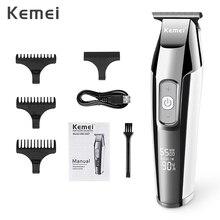 Kemei recarregável máquina de cortar cabelo para homens profissional aparador de cabelo elétrico navalha display lcd máquina de corte de cabelo cortador de cabelo
