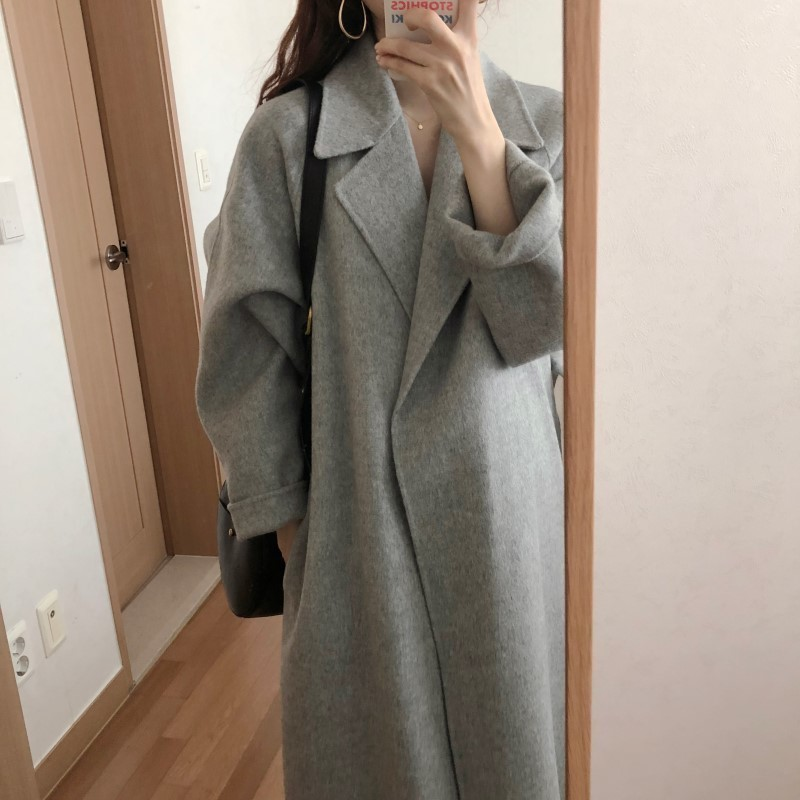 H31ed4177732b4a9982dc10be99b2d4efI Winter Fashion Coats Women Wool-blend Coat Lazy Oaf Long Chunky Warm Coat Western Style Fitted Waist Lace-up  Loose Coat