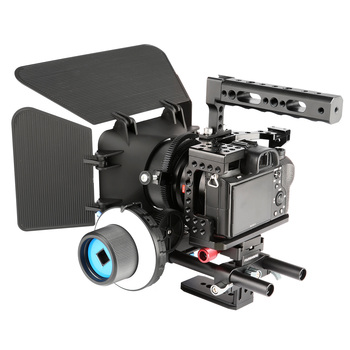 Aluminum Camera Cage Kit Rig Video Stabilizer+Top Handle+Follow Focus+Matter Box for Sony A7RIII A7III A7II A7RII A7SII A7 DSLR