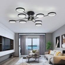 Moderno led lustre com controle remoto para sala de estar jantar quarto cozinha casa preto ramo luminária teto