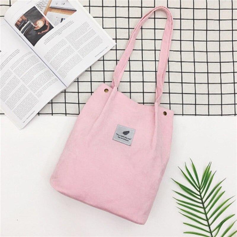 LOOZYKIT, Женские однотонные вельветовые сумки на плечо, сумка для покупок, большая посылка, сумки через плечо, кошельки, Повседневная сумка для женщин, сумка для книг - Цвет: pink