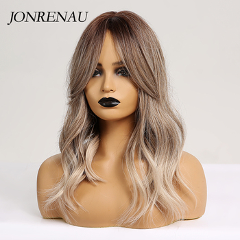 JONRENAU 16 Inches Synthetic Platinum Blonde Hair Long Natural Wave Ombre Brown Mixed Color Party Wigs for White/Black Women 4
