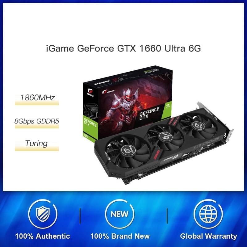 Цветная графическая карта GeForce GTX 1660 Ultra 6G iGame Nvidia GPU GDDR5 1785 МГц видеокарта 192 бит HDMI DVI для игрового ПК