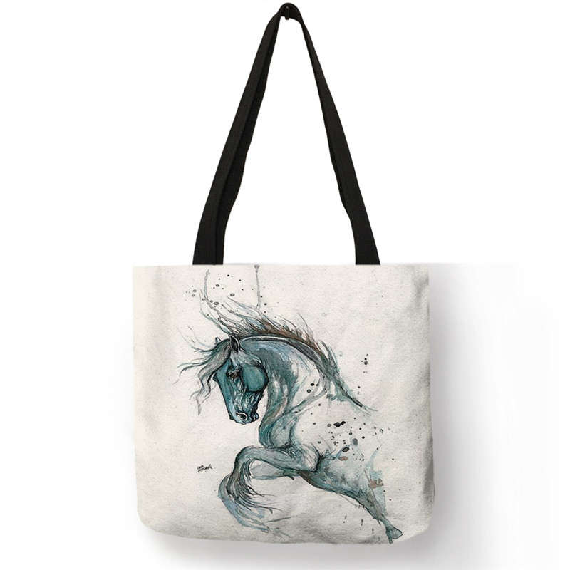 SY0055 Watercolor Painting Horse Print Bags Womens Handbag Casual Totes Large Capacity Shopping Shoulder Bags Dropshipping
