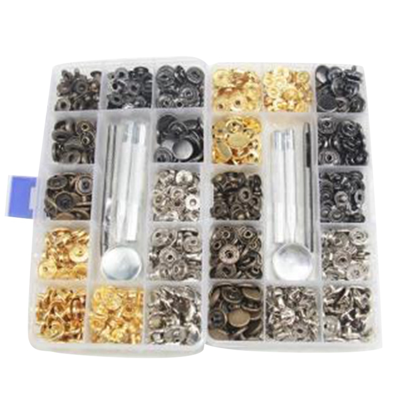 Trimming Shop 100pcs 11mm Silver Snap Poppers Prong Press Studs Fasteners for Leather Craft Clothing Shows Jackets Shirts Bags Fashion Wear Repair Work DIY
