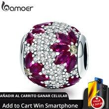 Bamoer coleção primavera 925 prata esterlina folhas de bordo claro cz contas caber charme pulseira & colares diy jóias scc570
