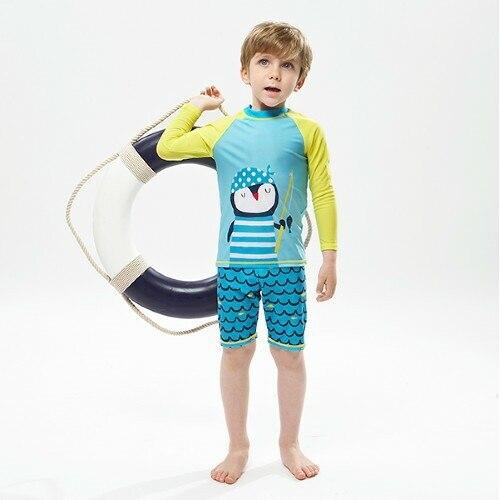 Children New Style Bathing Suit Women's Big Boy Swimwear Long Sleeve Male Baby Cartoon Beach Quick-Dry Diving Suit Bubble Hot Sp